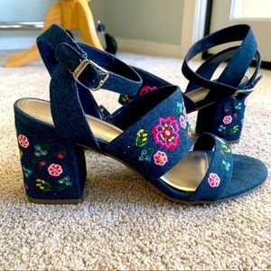 Barely worn Impo embroidered heeled sandal